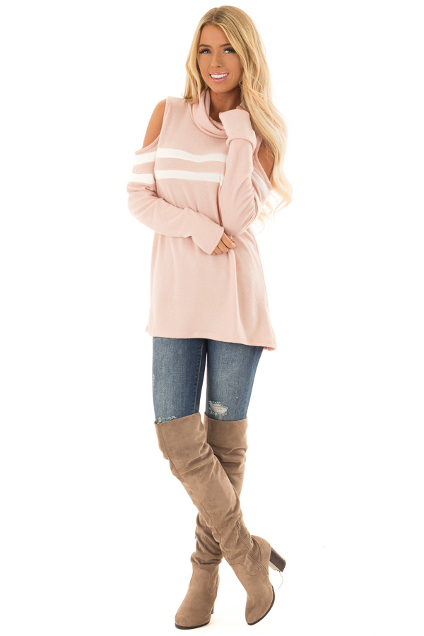 Blush Cold Shoulder Turtle Neck Top with Long Sleeves front full body
