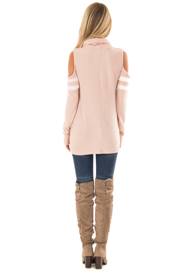 Blush Cold Shoulder Turtle Neck Top with Long Sleeves back full body