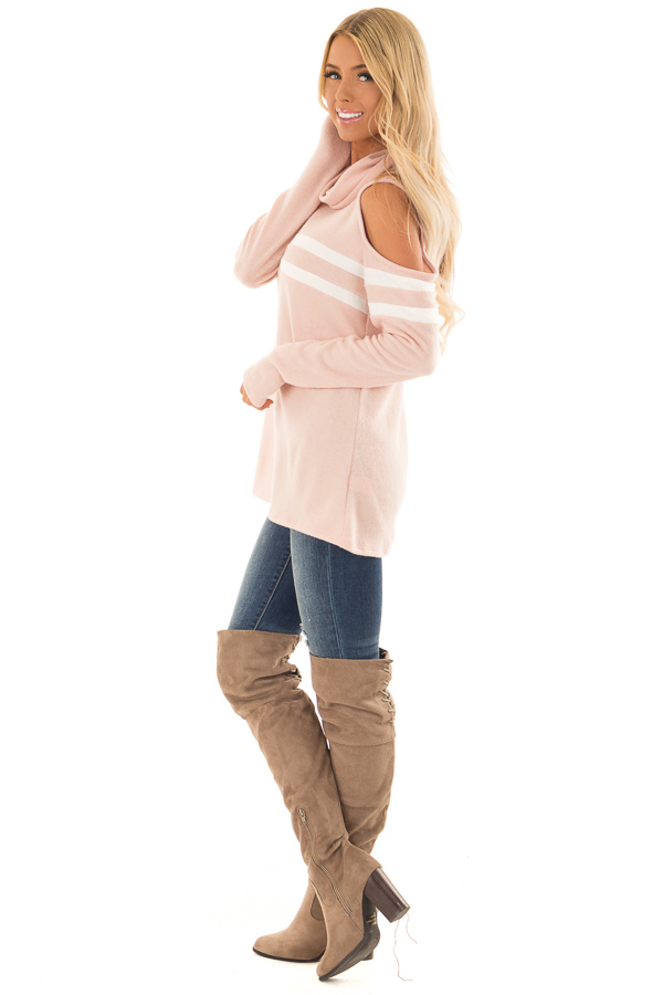 Blush Cold Shoulder Turtle Neck Top with Long Sleeves side full body