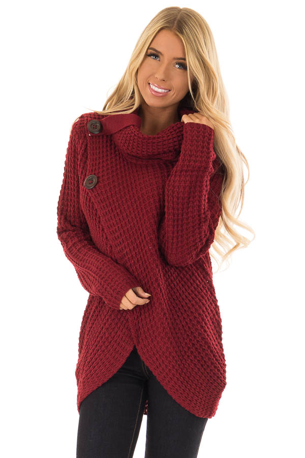 da569986907a Burgundy Long Sleeve Cowl Neck Sweater with Button Detail - Lime ...