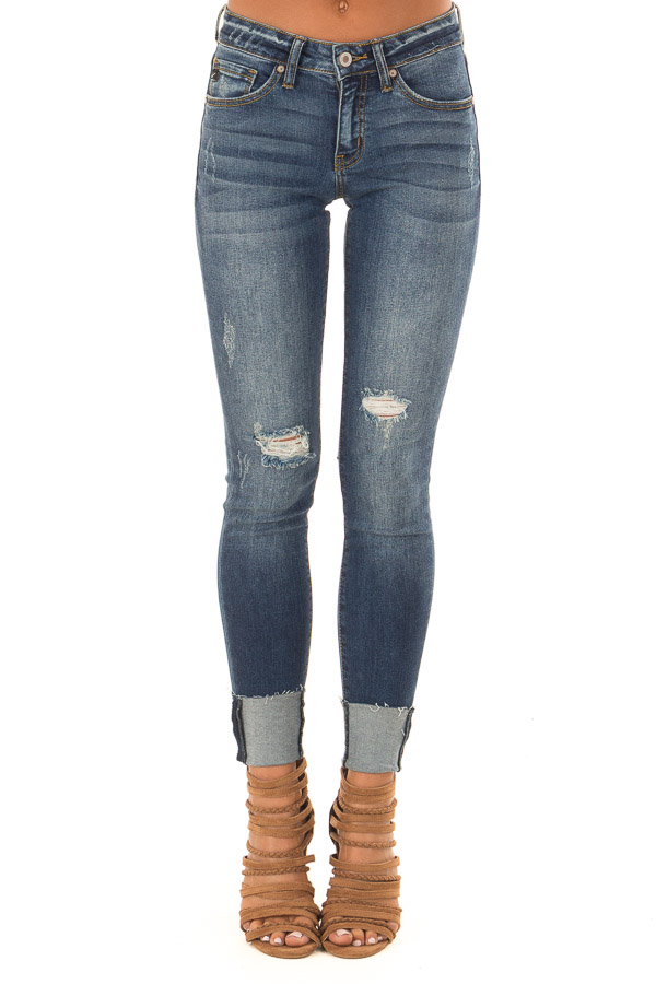 Medium Wash Denim Distressed Cropped Skinny Jeans front view