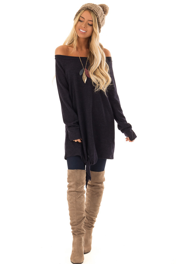 Navy Off the Shoulder Long Sleeve Tunic Top with Front Tie front full body
