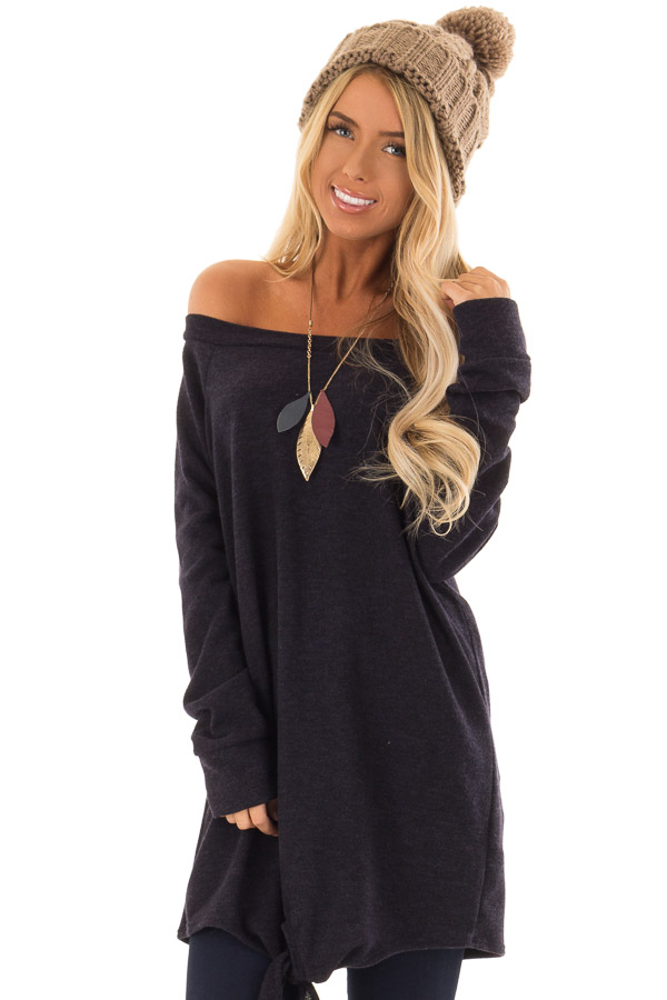 Navy Off the Shoulder Long Sleeve Tunic Top with Front Tie front close up