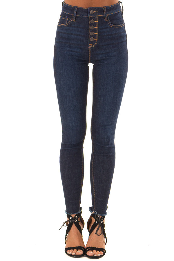 Dark Denim High Waisted Skinny Jeans with Raw Hem front view