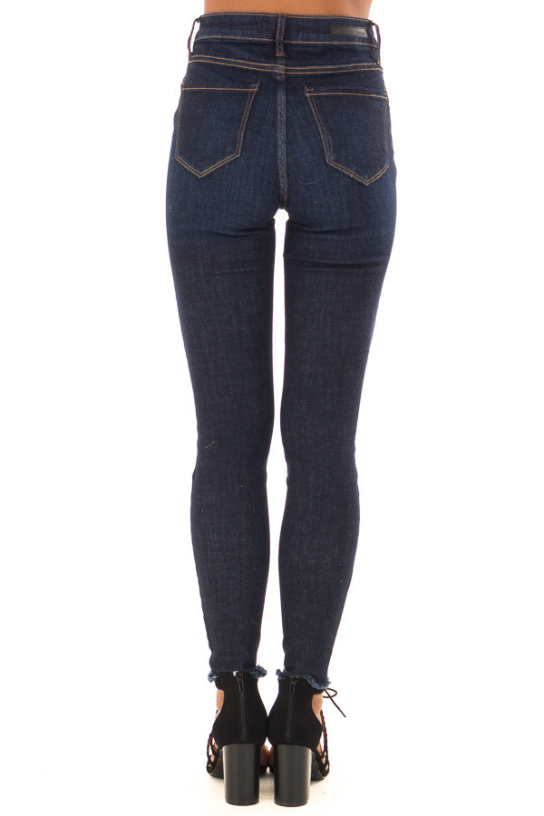 Dark Denim High Waisted Skinny Jeans with Raw Hem side view