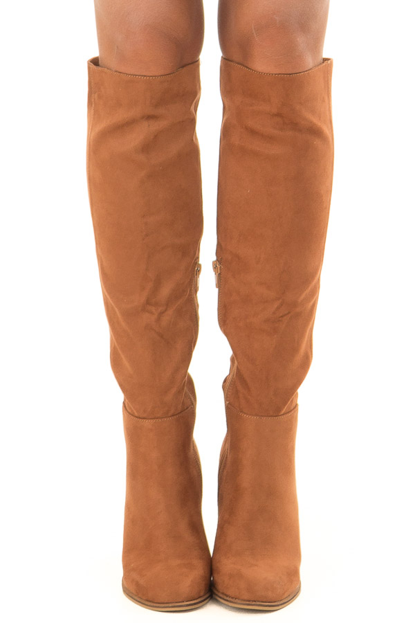 Tan Faux Suede Tall Heeled Boots front view