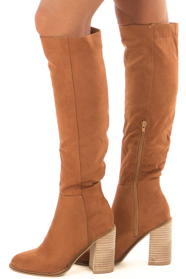 Tan Faux Suede Tall Heeled Boots back view