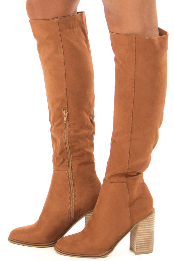 Tan Faux Suede Tall Heeled Boots side view