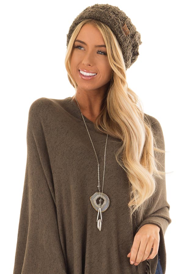 Dark Olive Oversized Cable Knit Beanie with Pom Pom - Lime Lush Boutique 131a8ec269f