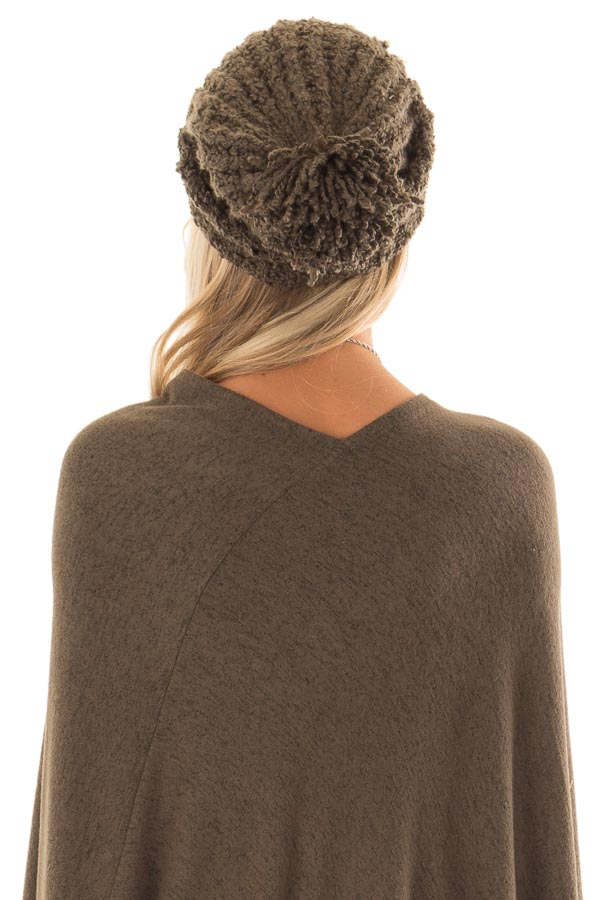 46ae2294c55 Dark Olive Oversized Cable Knit Beanie with Pom Pom - Lime Lush Boutique
