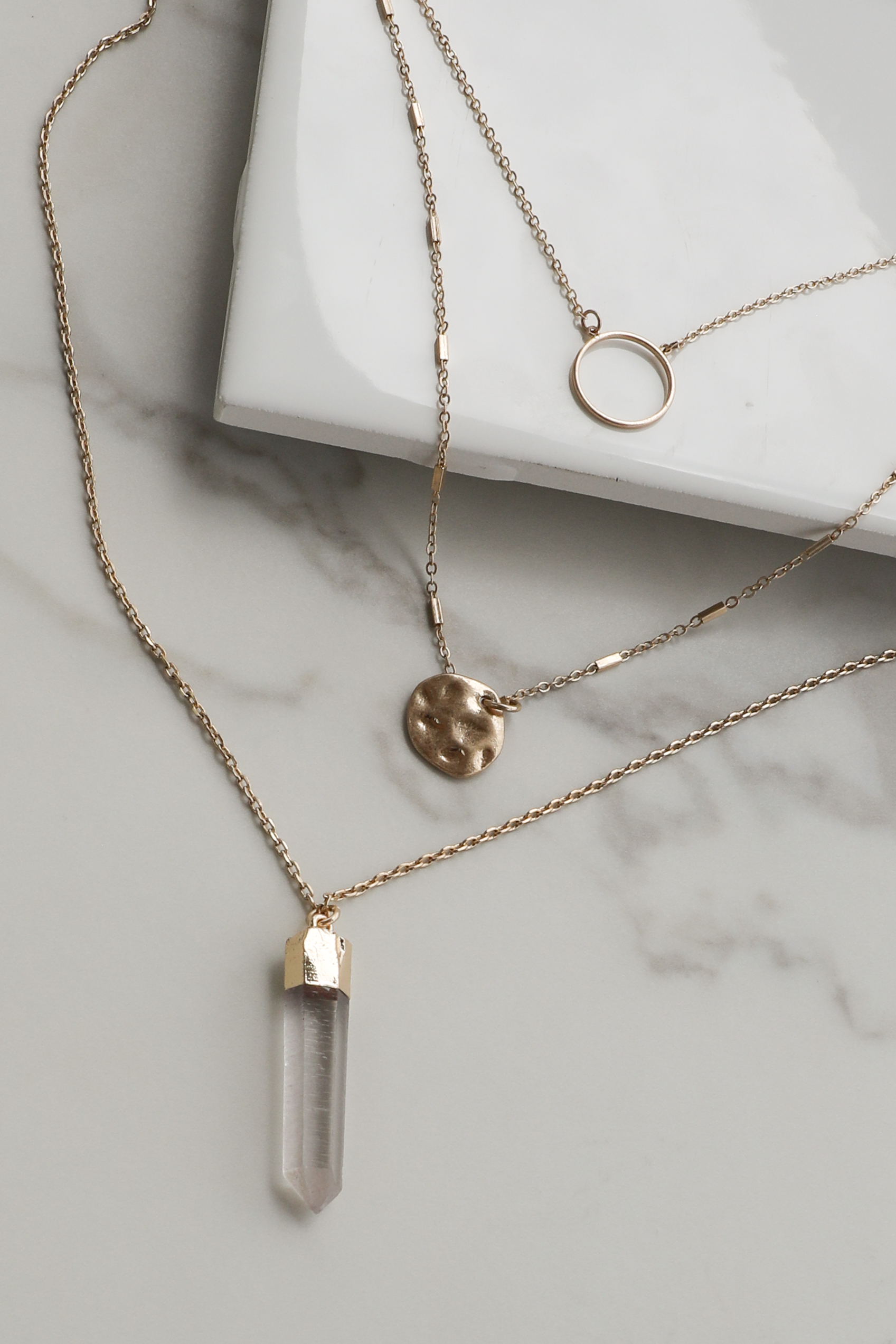 Gold Layered Necklace with Crystal Pendant