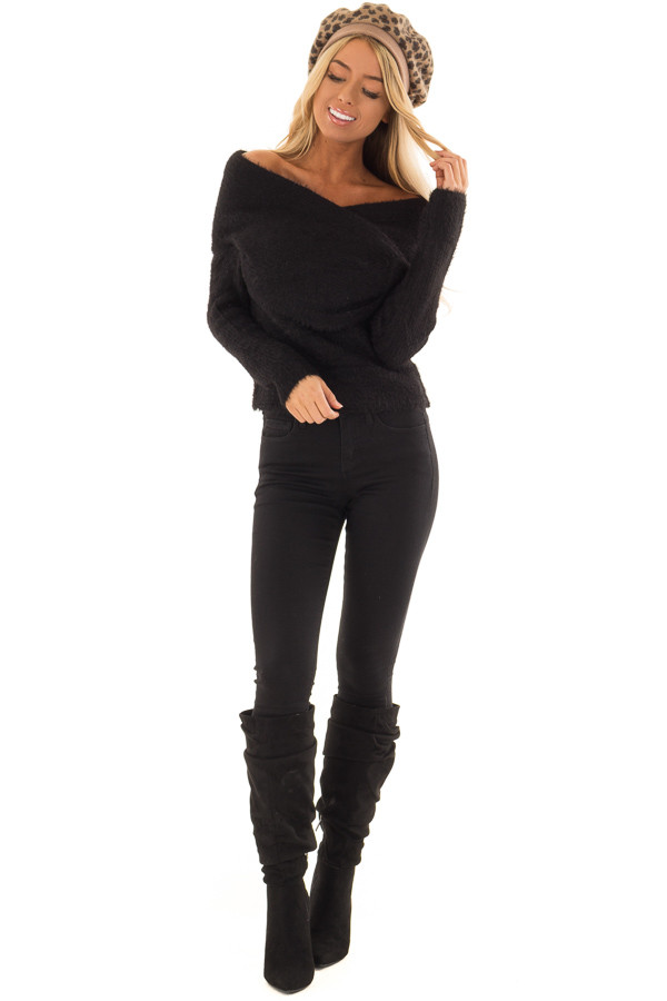 Black Wrap Around Style Ribbed Sweater with Long Sleeves front full body
