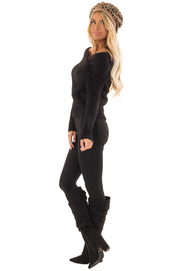 Black Wrap Around Style Ribbed Sweater with Long Sleeves side full body