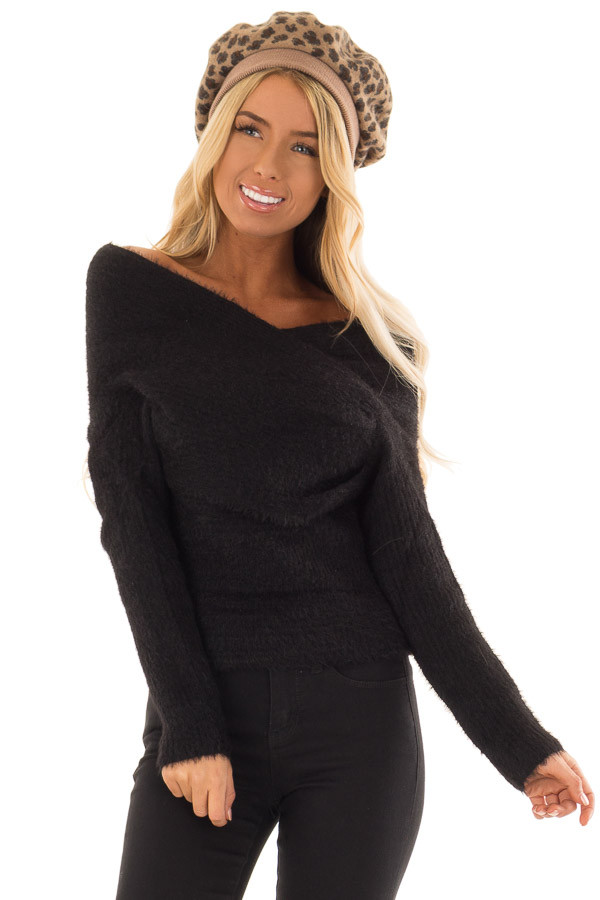 Black Wrap Around Style Ribbed Sweater with Long Sleeves front close up