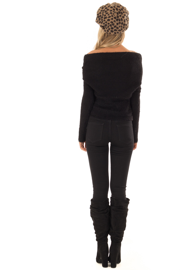 Black Wrap Around Style Ribbed Sweater with Long Sleeves back full body