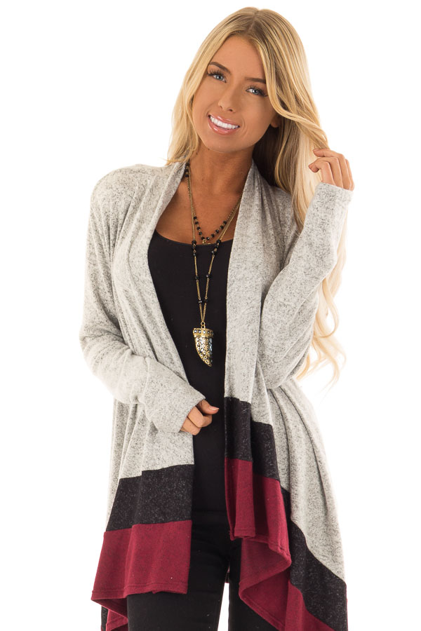 a17a1a41d4 Heather Grey Black and Burgundy Colorblock Draped Cardigan front close up