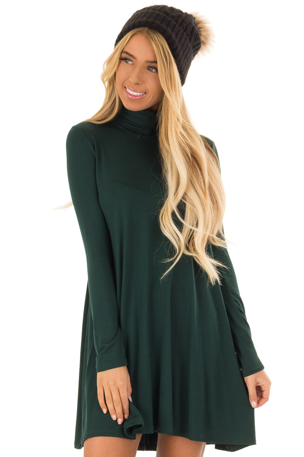 3011120489f6 Pine Green Long Sleeve Turtleneck Swing Dress - Lime Lush Boutique