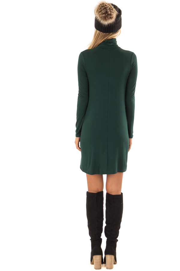 79ee495c0d20 ... Pine Green Long Sleeve Turtleneck Swing Dress back full body ...