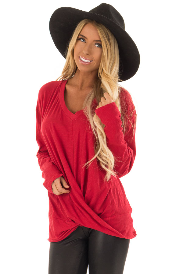 97fbd4342d Cherry Red V Neck Long Sleeve Top with Front Twist Detail front close up