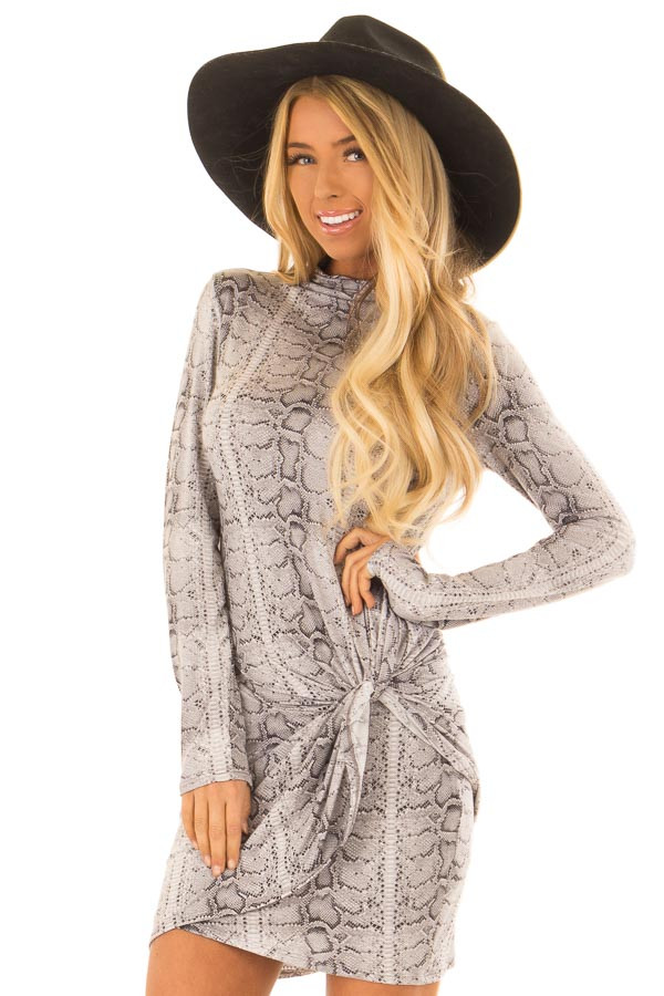 Heather Grey Snake Print Twist Front Dress front close up