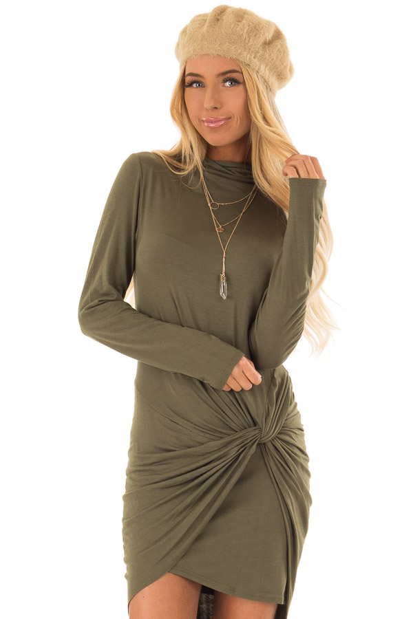 d84fbbb797e0 Olive Green Long Sleeve Twist Front Dress - Lime Lush Boutique