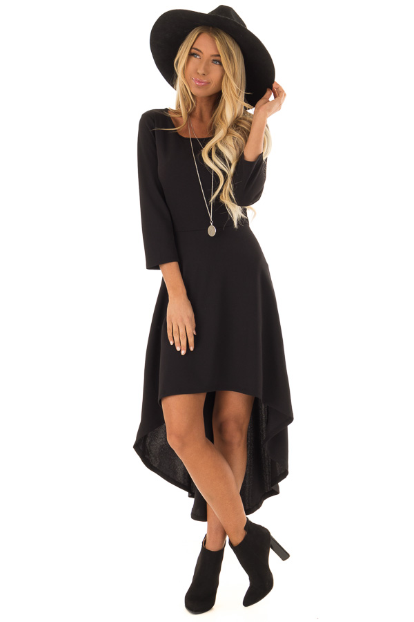 Coal Black Long Sleeve High Low Dress with Fitted Waist - Lime Lush ... 0f981beb5