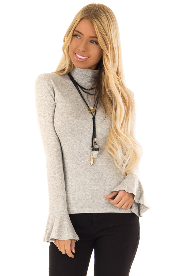 Heather Grey Turtleneck Top with Long Sleeves front close up