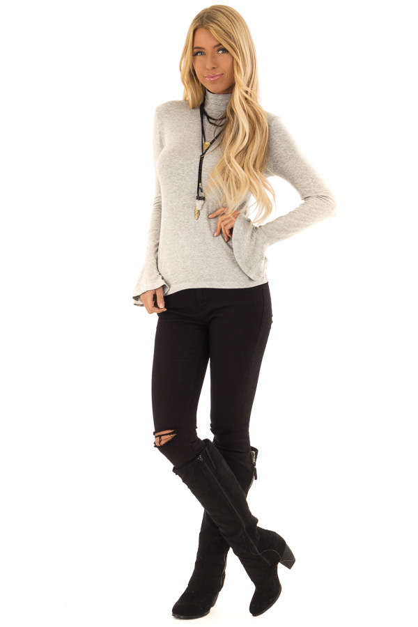 Heather Grey Turtleneck Top with Long Sleeves front full body