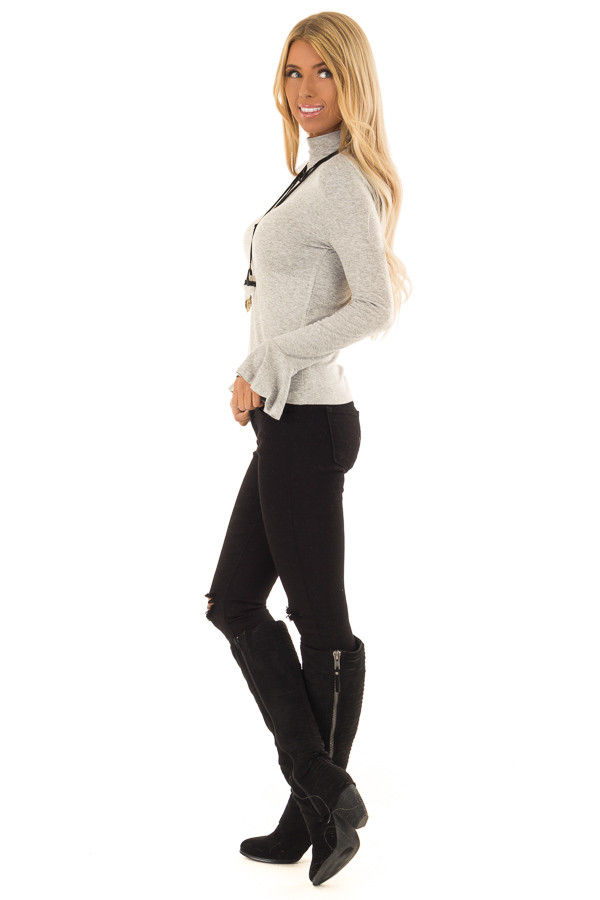 Heather Grey Turtleneck Top with Long Sleeves side full body