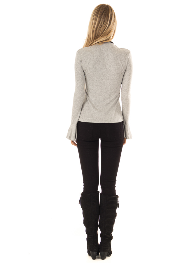 Heather Grey Turtleneck Top with Long Sleeves back full body