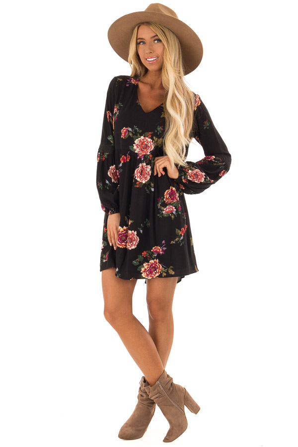 Black Floral Babydoll Dress with Long Bishop Sleeves front full body