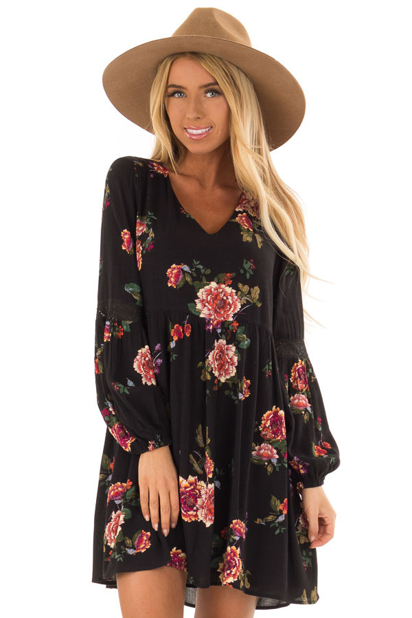 Black Floral Babydoll Dress with Long Bishop Sleeves front close up