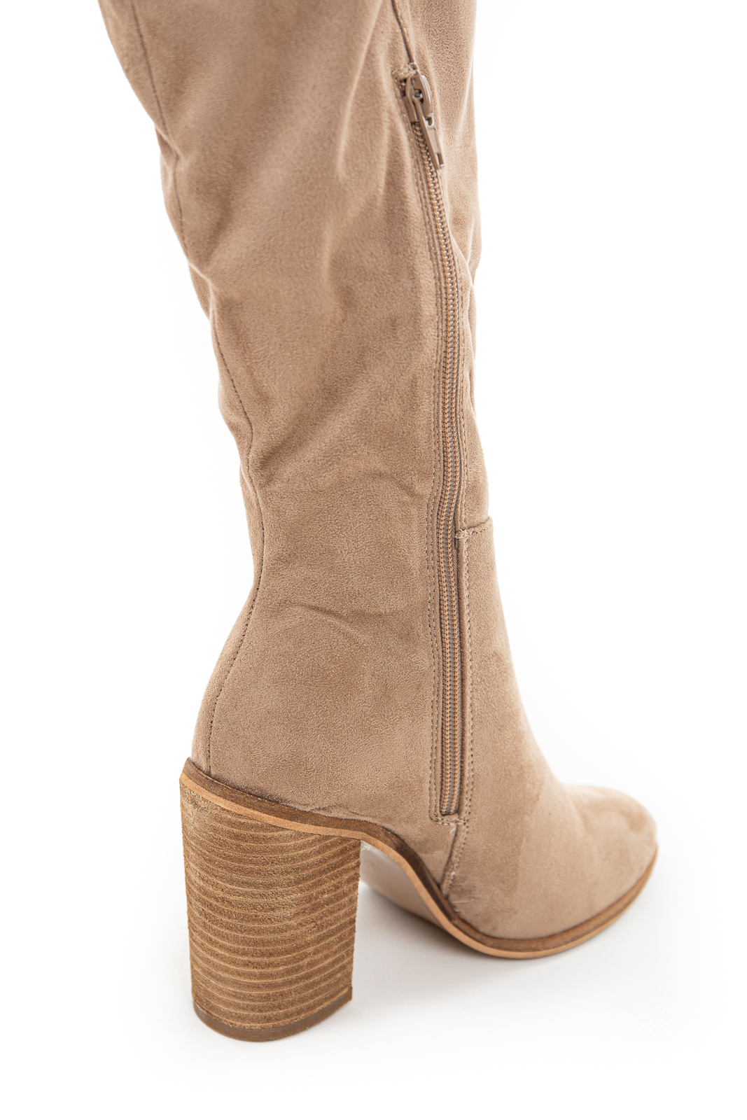 Taupe Faux Suede Tall Heeled Boots