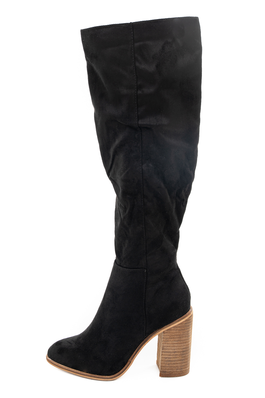 Black Faux Suede Tall Heeled Boots