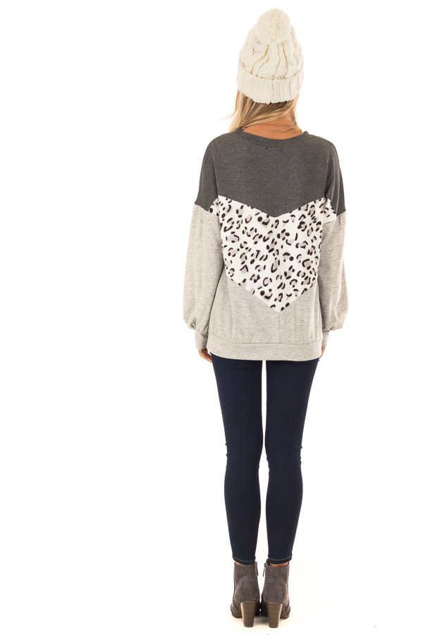 Heather Grey and Leopard Color Block Round Neck Top back full body
