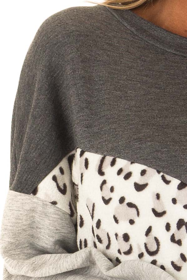 Heather Grey and Leopard Color Block Round Neck Top detail
