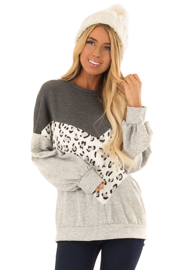 Heather Grey and Leopard Color Block Round Neck Top front close up