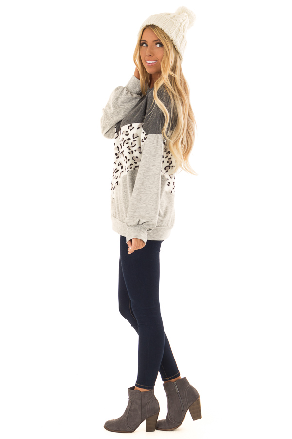 Heather Grey and Leopard Color Block Round Neck Top side full body
