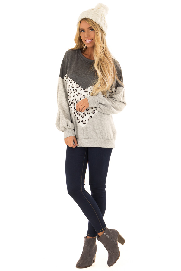 Heather Grey and Leopard Color Block Round Neck Top front full body