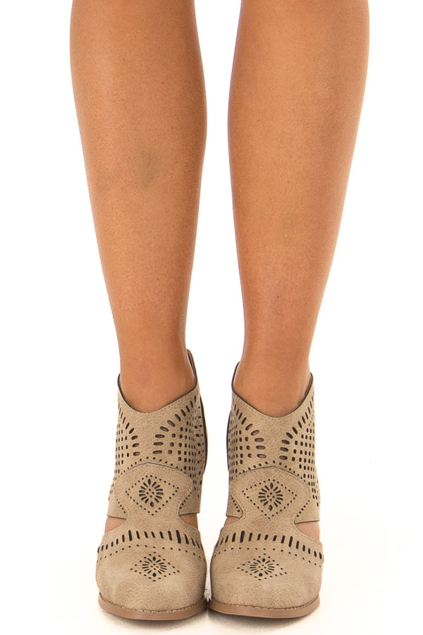 Taupe High Heel Bootie with Cut out Detail front view