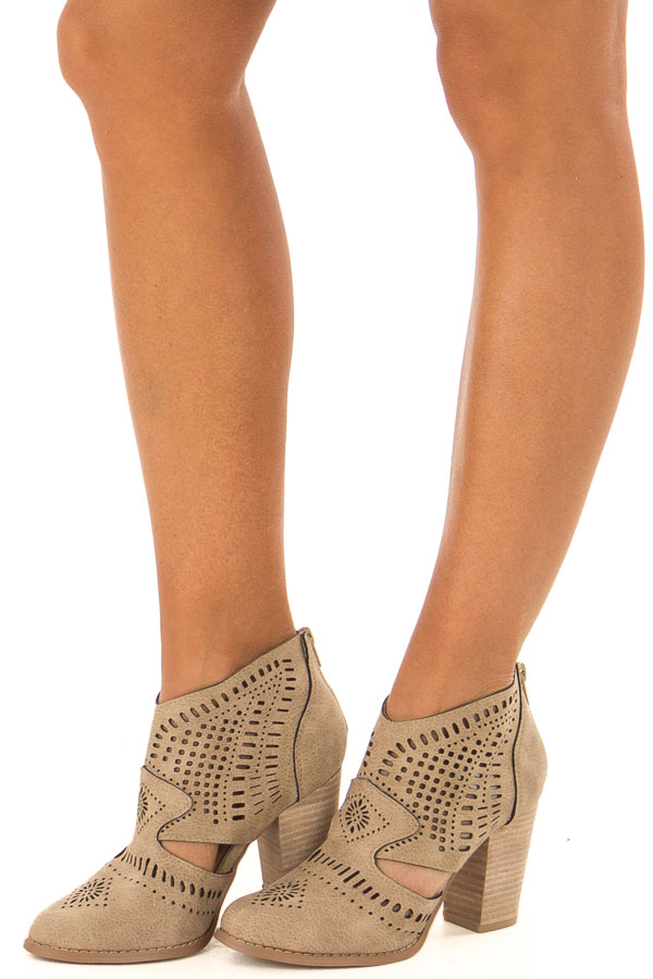 Taupe High Heel Bootie with Cut out Detail front side view