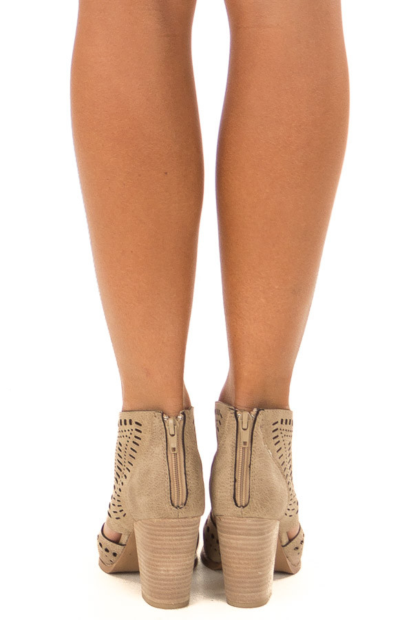 Taupe High Heel Bootie with Cut out Detail back view