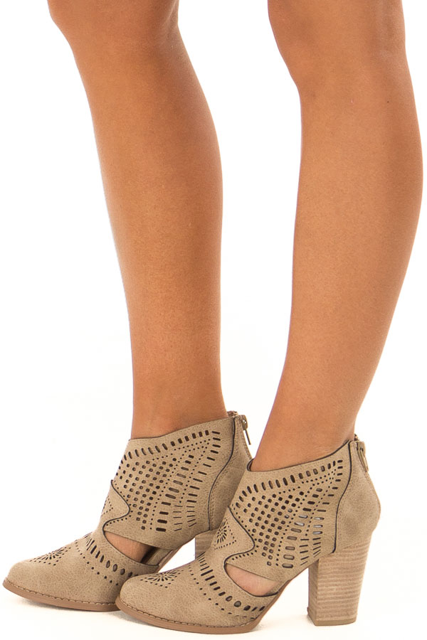 Taupe High Heel Bootie with Cut out Detail side view