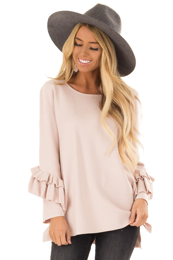 Blush Long Sleeve Top with Side Slits and Ruffle Detail front close up