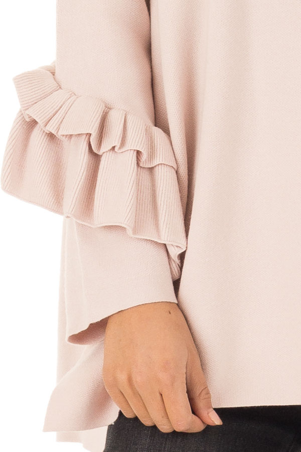Blush Long Sleeve Top with Side Slits and Ruffle Detail detail