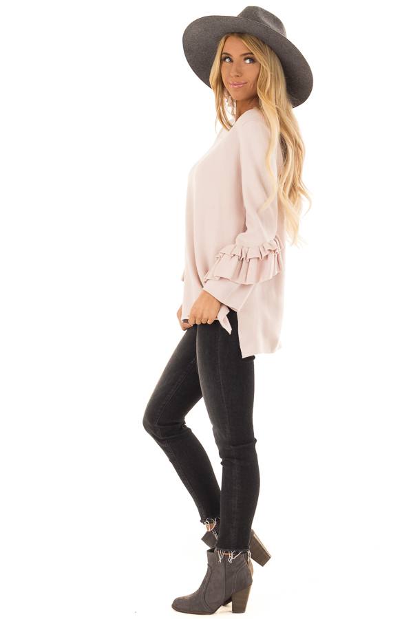 Blush Long Sleeve Top with Side Slits and Ruffle Detail side full body
