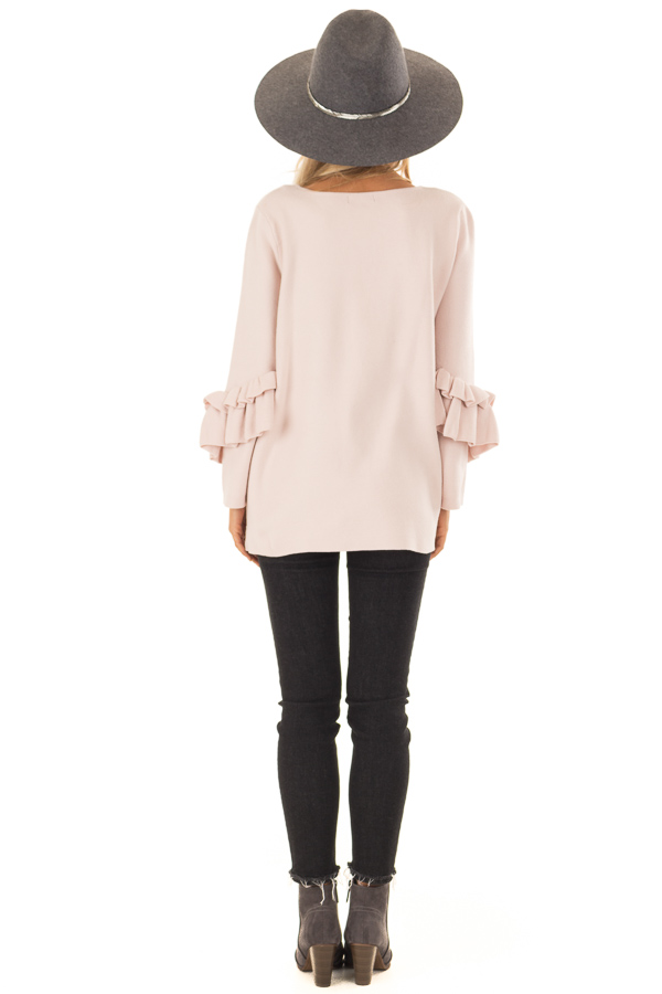 Blush Long Sleeve Top with Side Slits and Ruffle Detail back full body