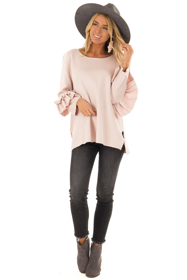 Blush Long Sleeve Top with Side Slits and Ruffle Detail front full body