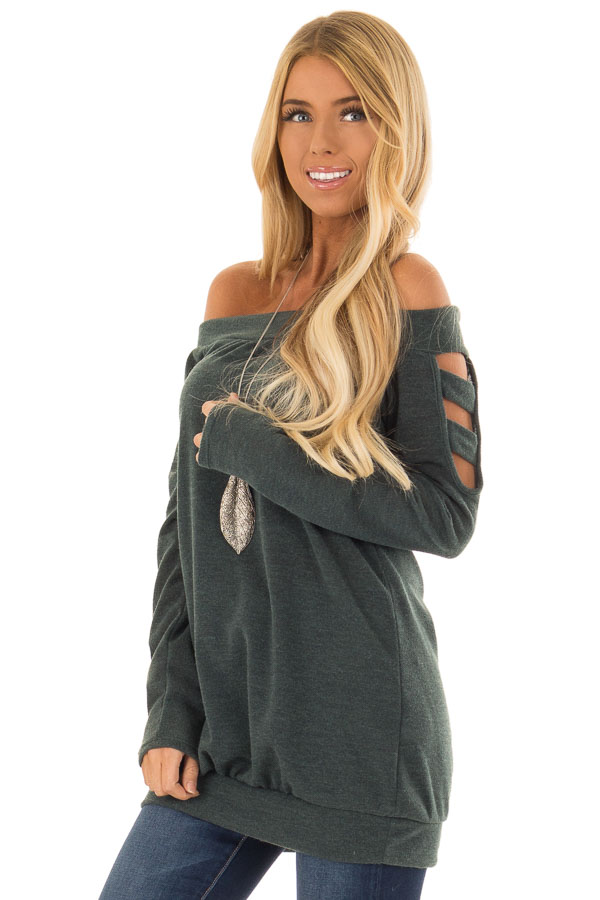 Hunter Green Off the Shoulder Top with Ladder Cut Out Detail front close up