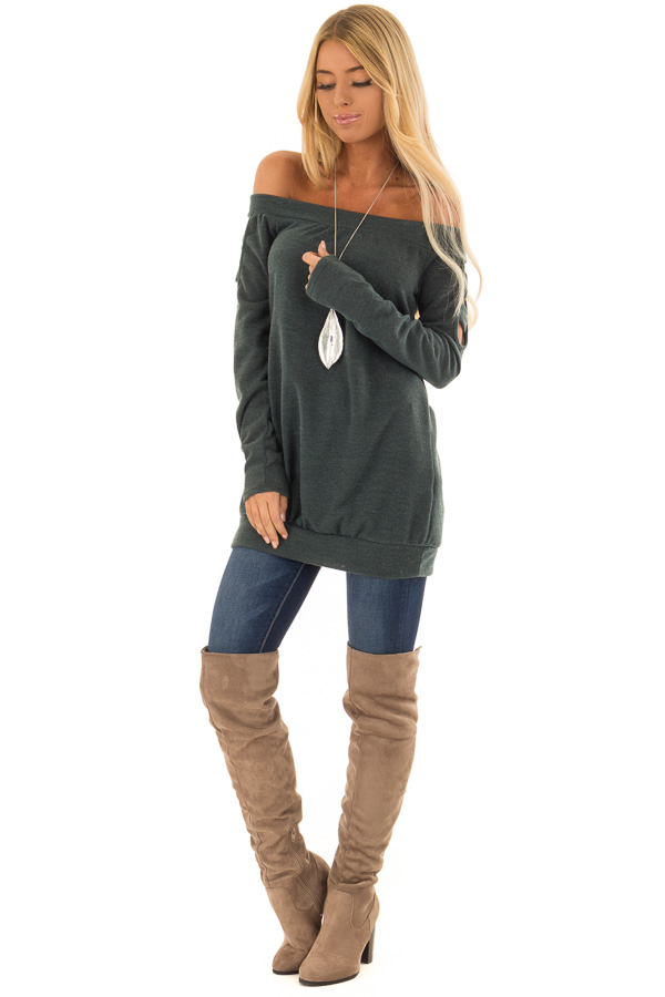 Hunter Green Off the Shoulder Top with Ladder Cut Out Detail front full body